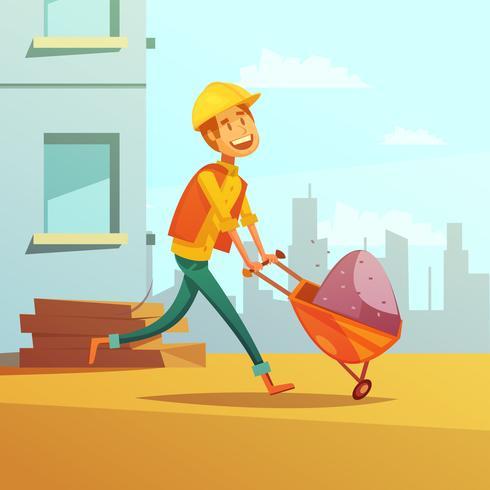 Builder And Building Cartoon Illustration