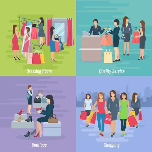 Concepto plano de compras de mujer