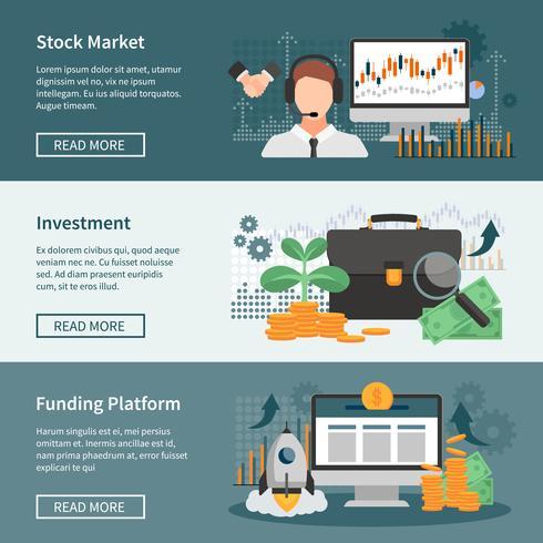 Banners horizontales de inversión y comercio