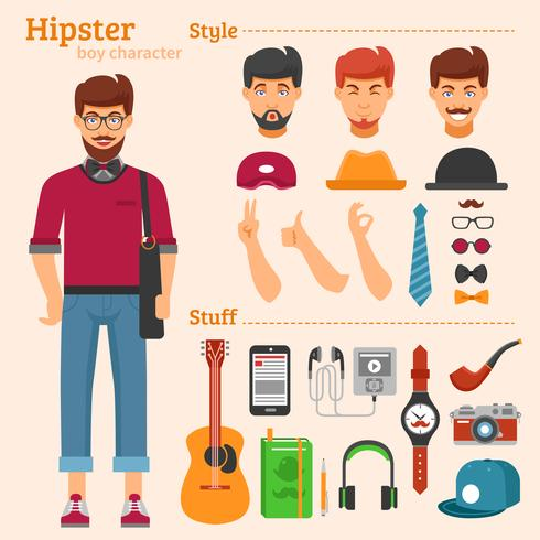 Hipster Boy Character decoratieve Icons Set