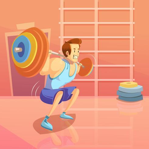 Ilustración de dibujos animados de gimnasio