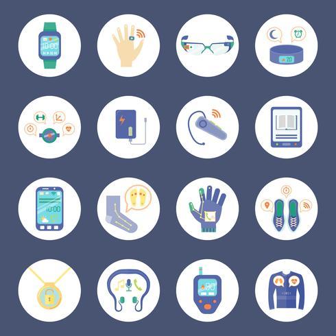 Smart Technology Round Icons Set