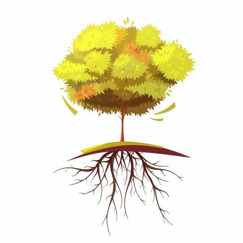 Árbol con la ilustración de dibujos animados retro de raíz