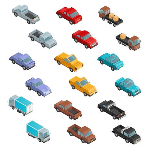 RoadTransport iconos isométricos de colores vector