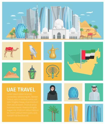 Conjunto de ícones decorativos dos Emirados Árabes Unidos