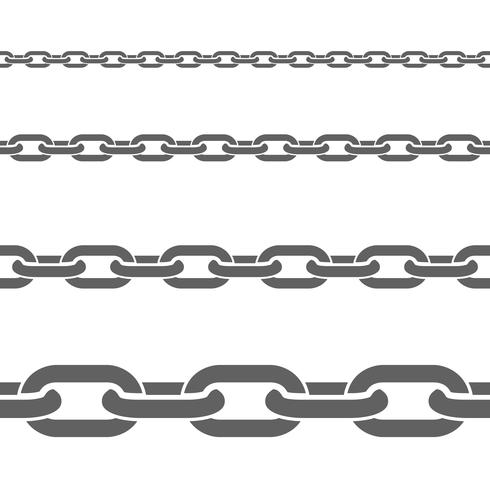 Metal Chains Horizontal Flat Patterns Set