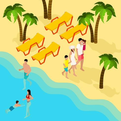 Bandera isométrica de vacaciones en la playa tropical familiar