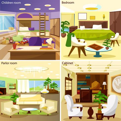 Conceito de Design de interiores 2 x 2 de sala de estar vetor