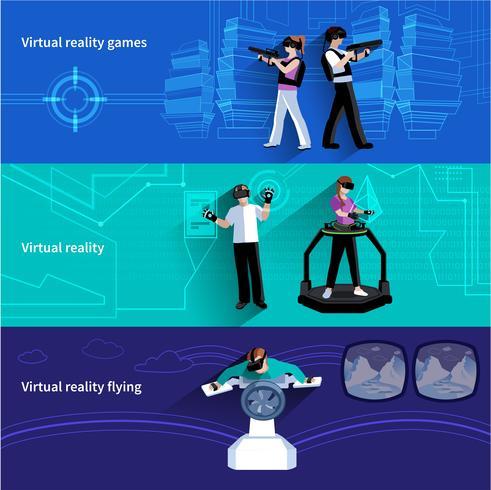 Virtual Augmented Reality Flat Banners Set