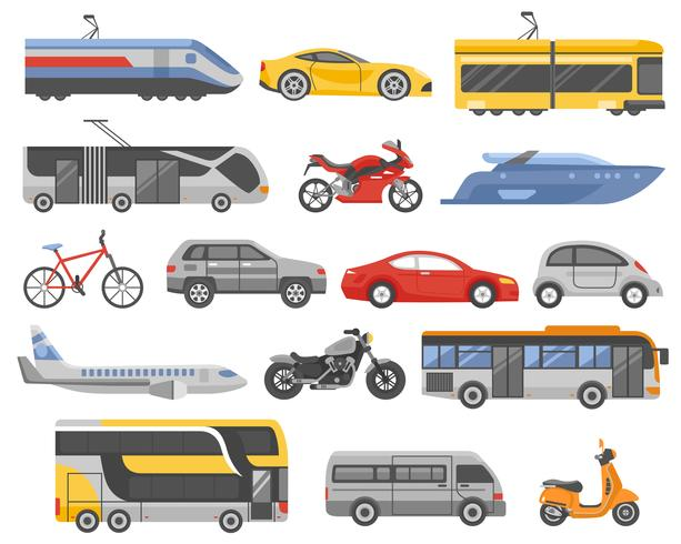 Vervoer decoratieve vlakke pictogrammen instellen vector