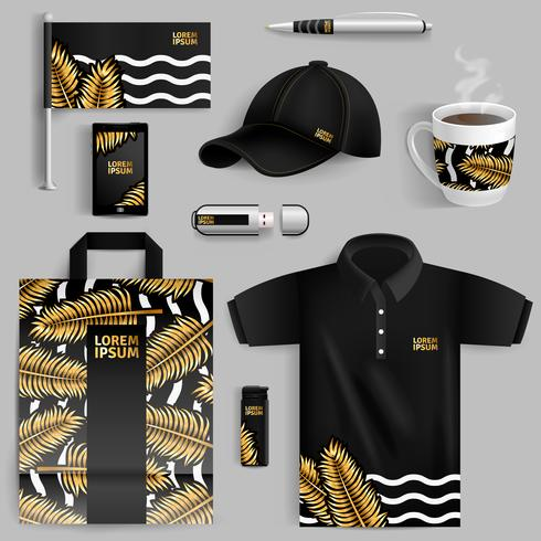 Advertising Of Corporate Identity With Gold Palm Leaves