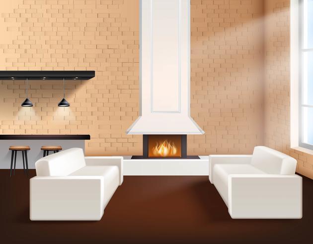 Interior de loft realista vector