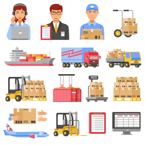 Logistics And Delivery Decorative Icons Set