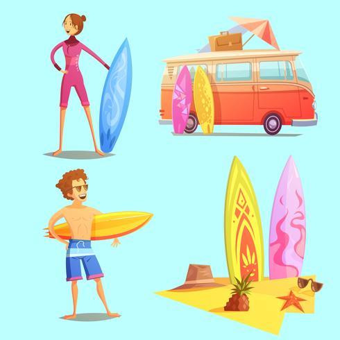 Set di icone di surf retrò cartoon 2x2 vettore