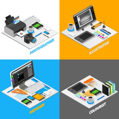 Graphic Design Concept Isometric Set