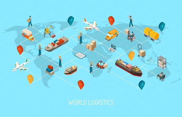 Poster isometrico mondiale di operazioni logistiche
