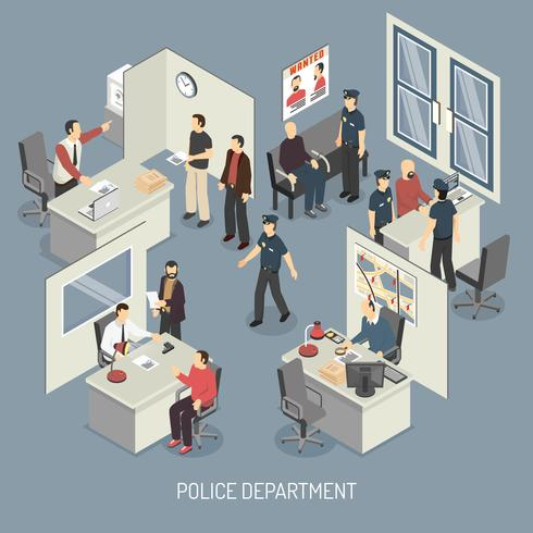 Police Department Isometric Composition vector