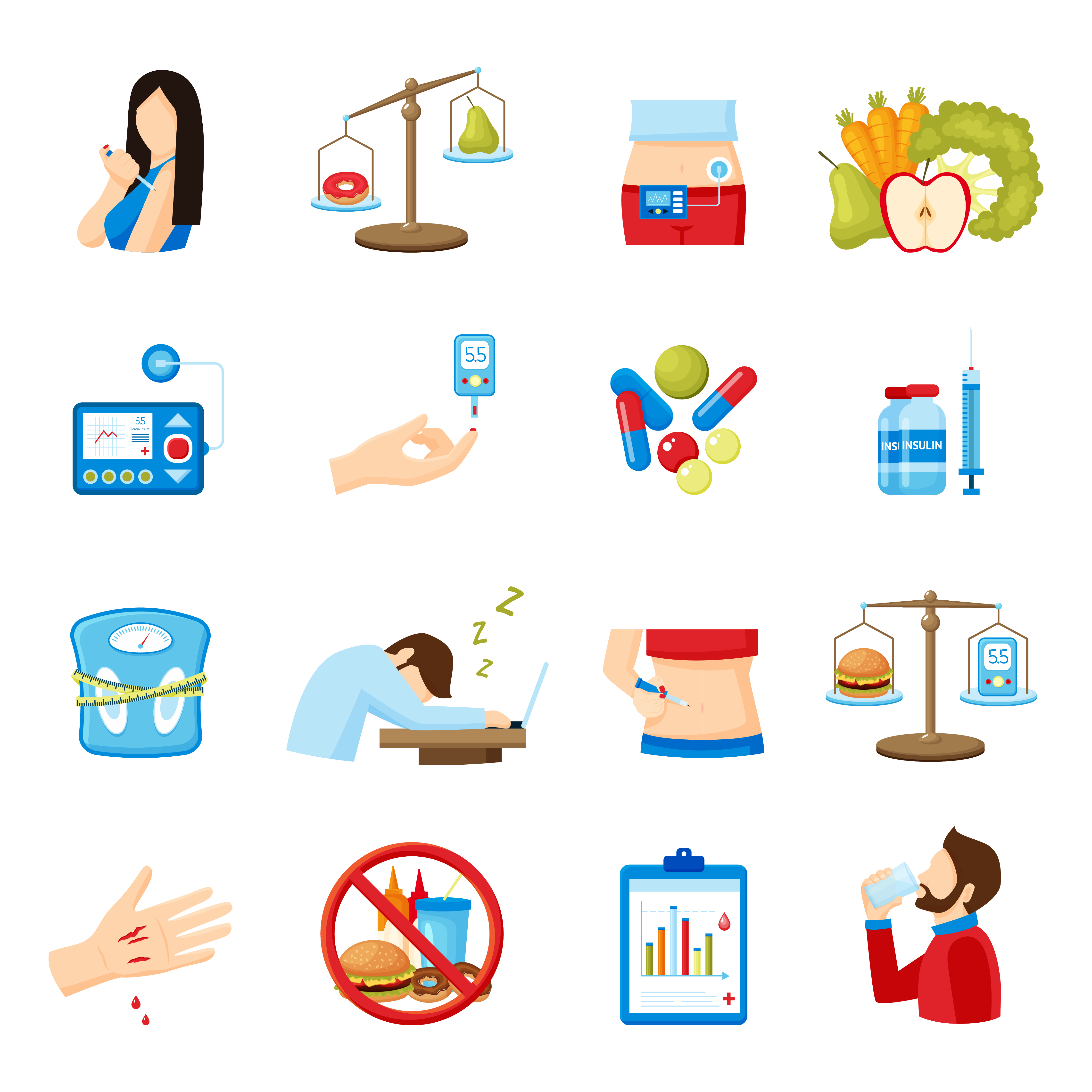 Diabetes Symptoms Signs Flat Icons Collection 478095