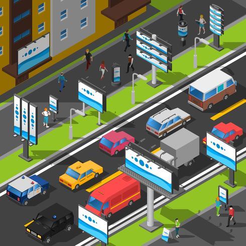 Illustrazione isometrica di pubblicità di strada