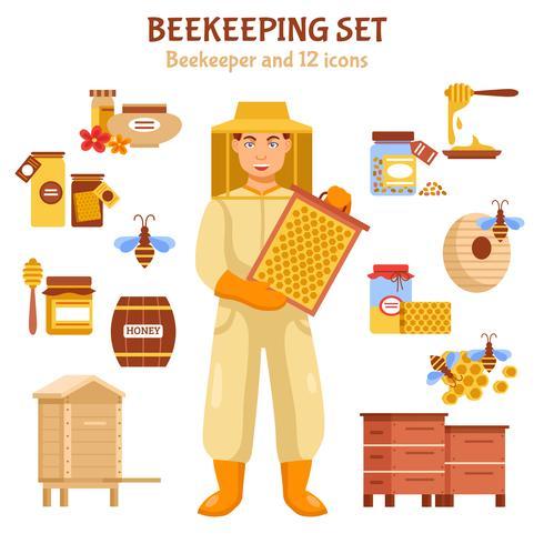 Set di icone illustrazione miele di apicoltura vettore