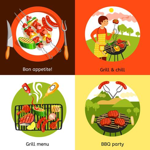 Barbecue partij 4 plat pictogrammen plein vector