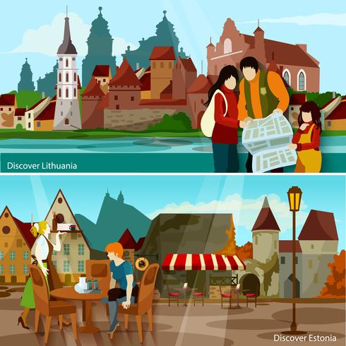 European Cityscapes Compositions  Set vector