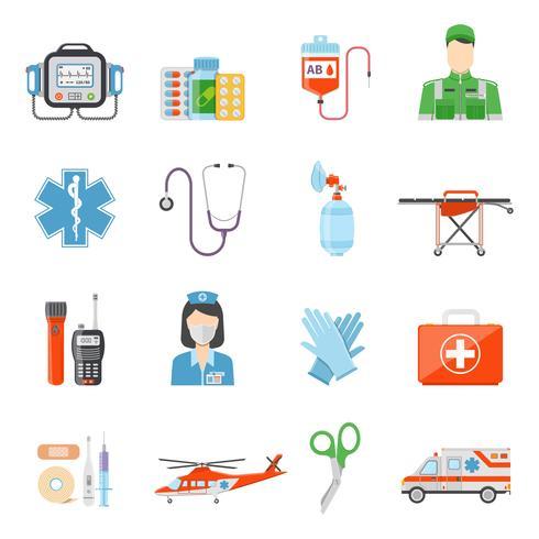 Ícones decorativos coloridos planos do paramédico