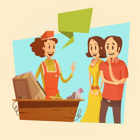 Vendedora e clientes ilustração retrô