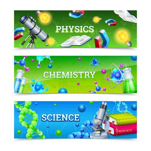 Equipo de laboratorio de ciencias Banners horizontales vector