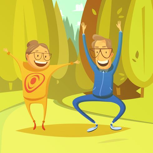 Personas mayores y gimnasia ilustración vector
