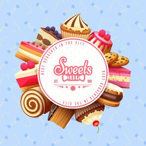 Cupcakes dulces tienda redonda fondo cartel