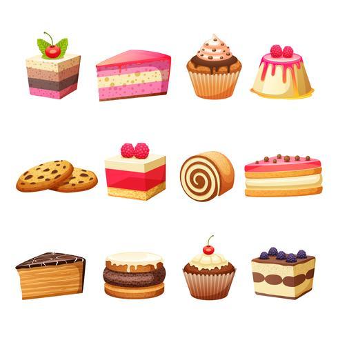 Conjunto de bolos e doces vetor