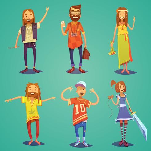 Subcultuur Hipster Mensen Cartoon figuren instellen vector