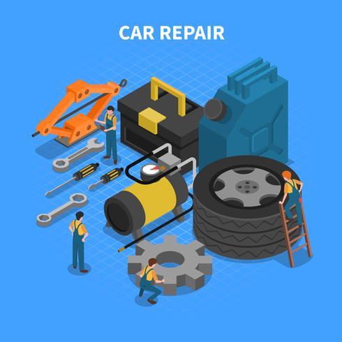 Concepto isométrico de herramientas de reparación de automóviles vector