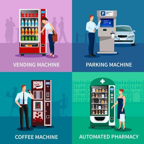 Conjunto de iconos de concepto de máquinas expendedoras