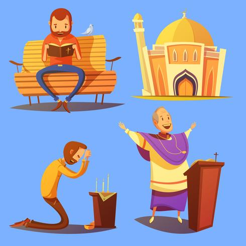Conjunto de iconos de dibujos animados de religión