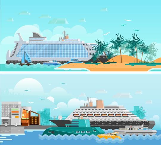 Cruise Vacation Flat Horisontell Banners Set