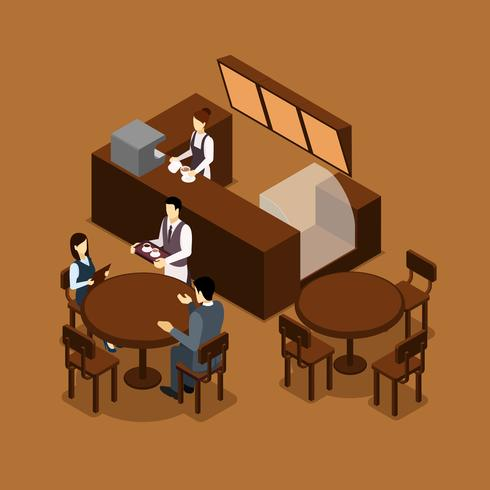 Kellnerin Barista People Isometric Brown Poster vektor
