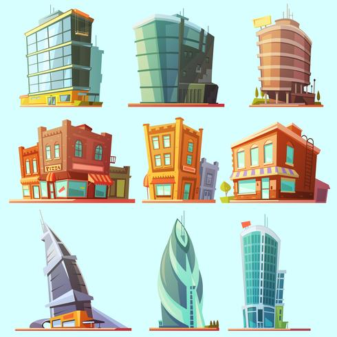 Distintivo conjunto de iconos de edificios modernos y antiguos