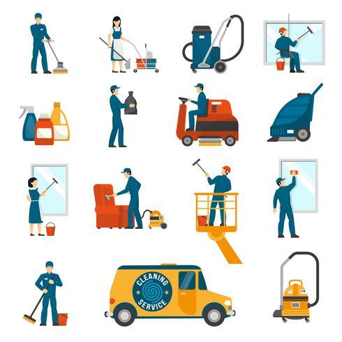 Servicio de limpieza industrial plano conjunto de iconos