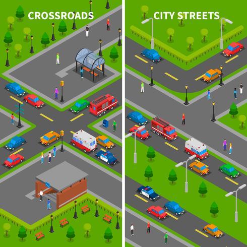 Banners verticales isométricas de tráfico de la calle