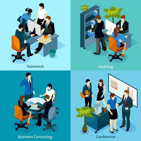 People On Work Isometric Icon Set