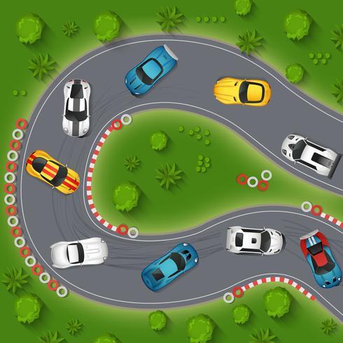 Sportbilar Drifting Top View Illustration
