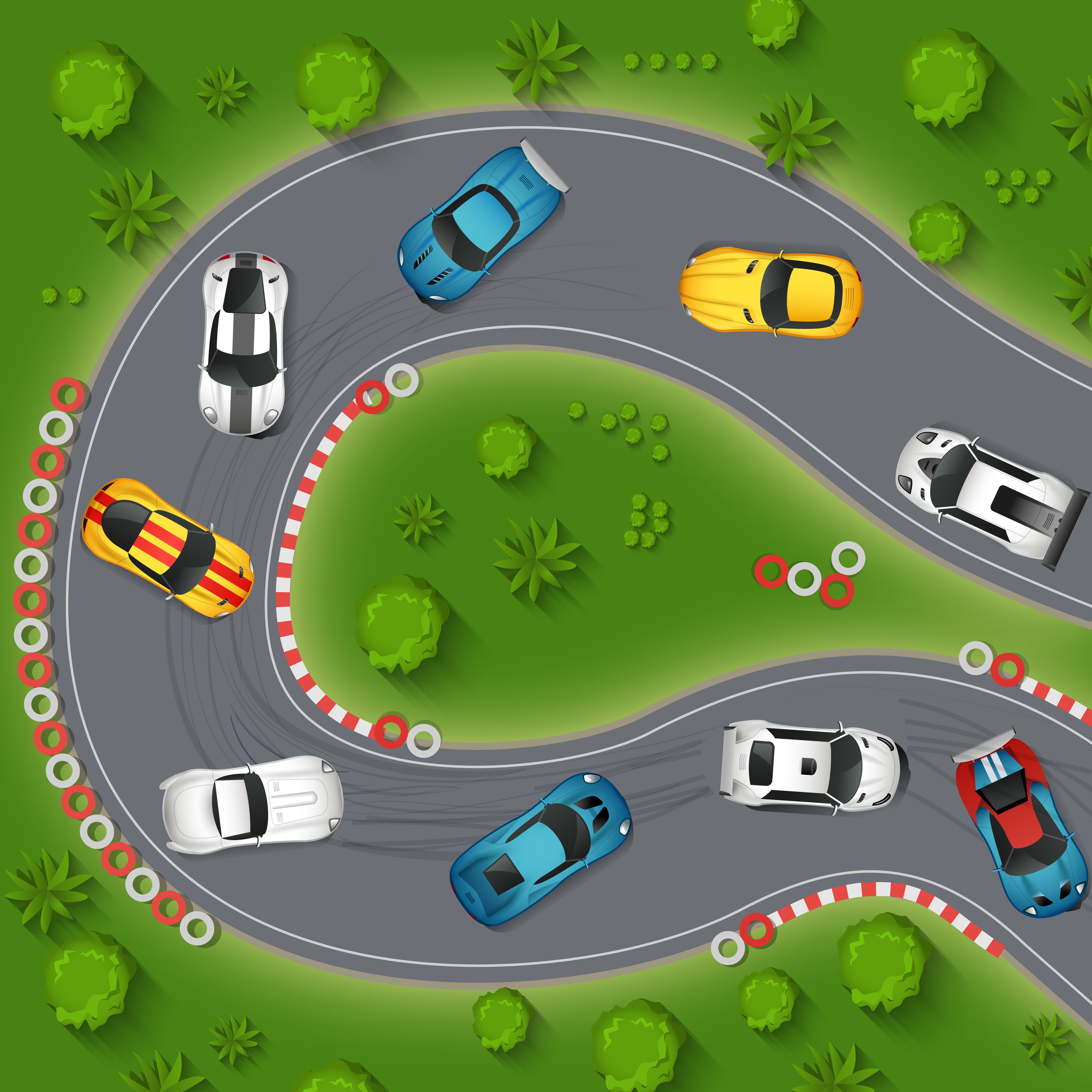 Sport Cars Drifting Top View Illustration Download Free Vectors Clipart Graphics Vector Art