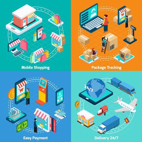 Mobiel winkelen isometrische 2x2 Icons Set