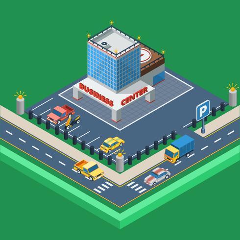 Ilustración isométrica del centro de negocios