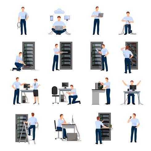 System Administrator Icons Set vector