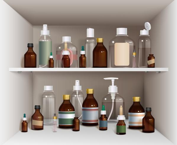 Conjunto de botellas médicas en estantes vector