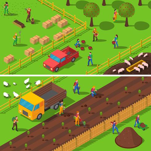 Farming Concept 2 Isometric Banners Set
