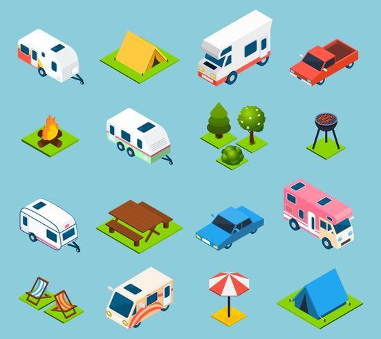 Camping y viajes conjunto de iconos isométricos
